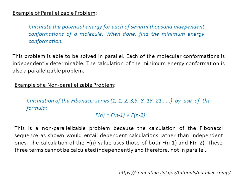 Example of Parallelizable Problem: