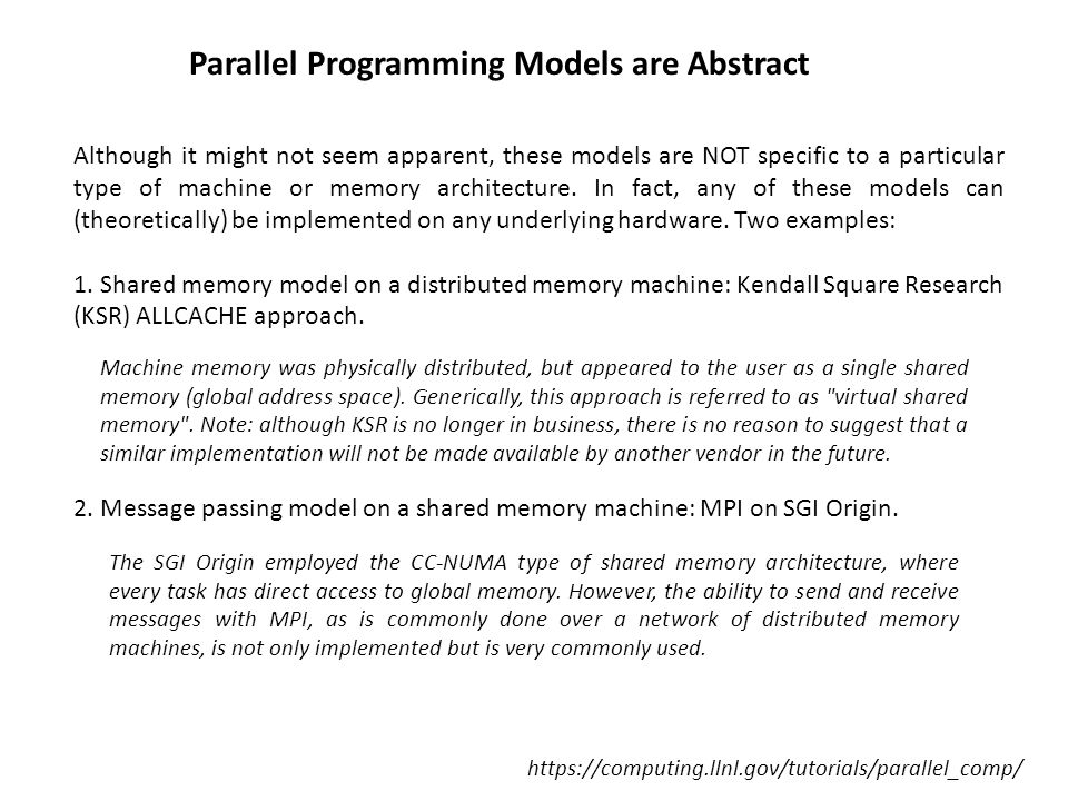Parallel Programming Models are Abstract