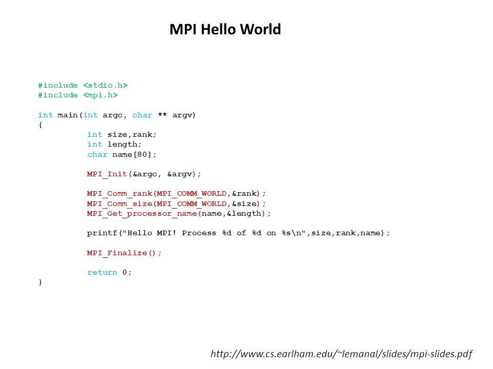 MPI Hello World #include <stdio.h> #include <mpi.h> int main(int argc, char ** argv) { int size,rank;