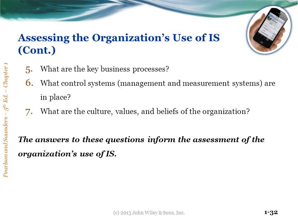 Assessing the Organization's Use of IS (Cont.)
