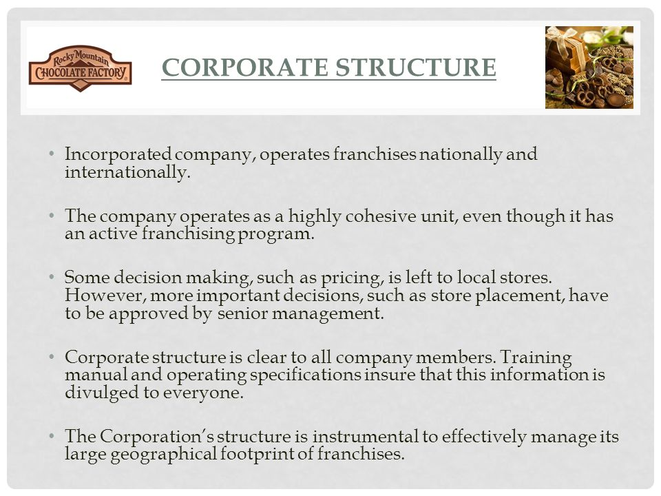 CORPORATE STRUCTURE Incorporated company, operates franchises nationally and internationally.