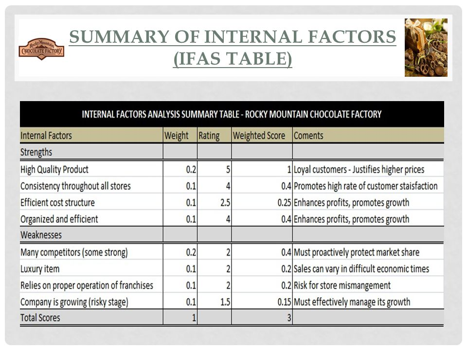 Summary of internal factors (ifas table)