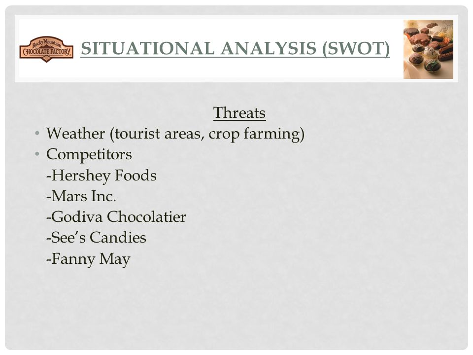 swot analysis of hershey chocolate Answer to independently develop a swot matrix for the hershey company , write a thorough analysis of the swot at a minimum, an analysis should always include what the matrix means, why it is important to the company largest chocolate producer in north america 2 acquisition of krave.
