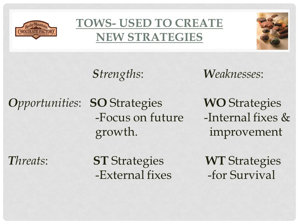 TOWS- used to create New Strategies