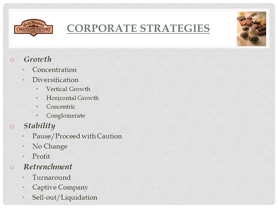 Corporate Strategies Growth Stability Retrenchment Concentration