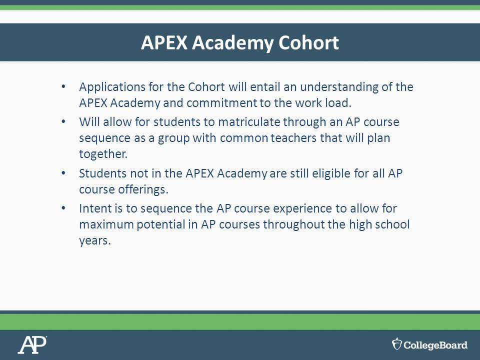 APEX Academy Cohort Applications for the Cohort will entail an understanding of the APEX Academy and commitment to the work load.