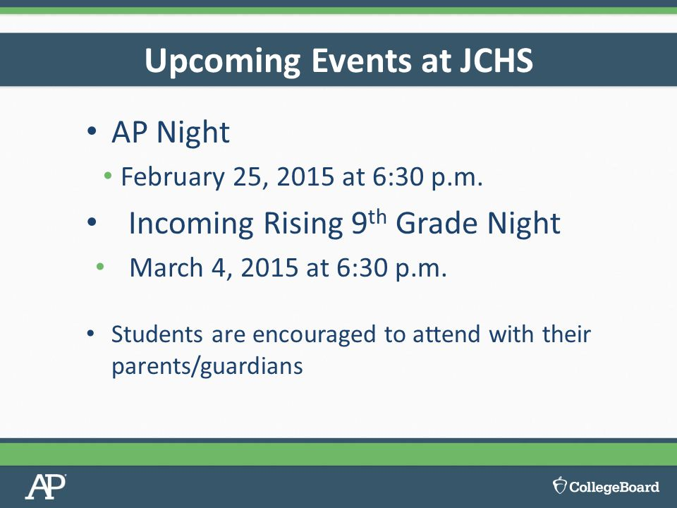 Upcoming Events at JCHS