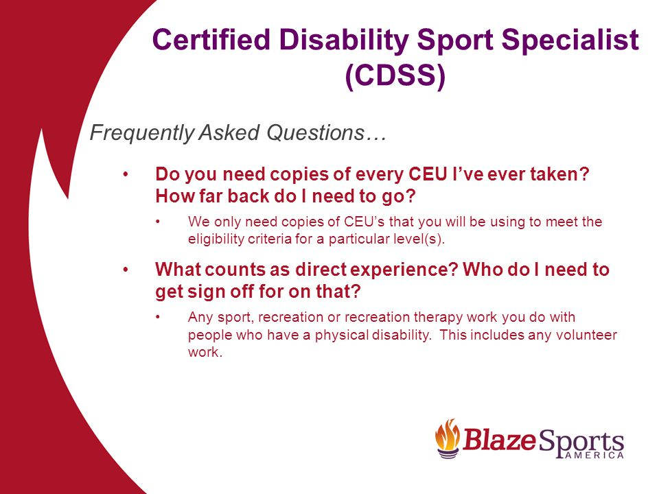 Certified Disability Sport Specialist (CDSS)