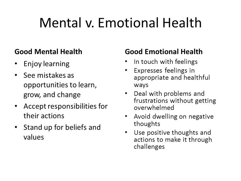 Mental v. Emotional Health