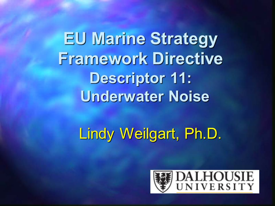 EU Marine Strategy Framework Directive Descriptor 11: Underwater Noise
