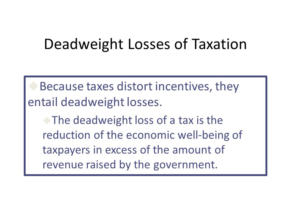 Deadweight Losses of Taxation