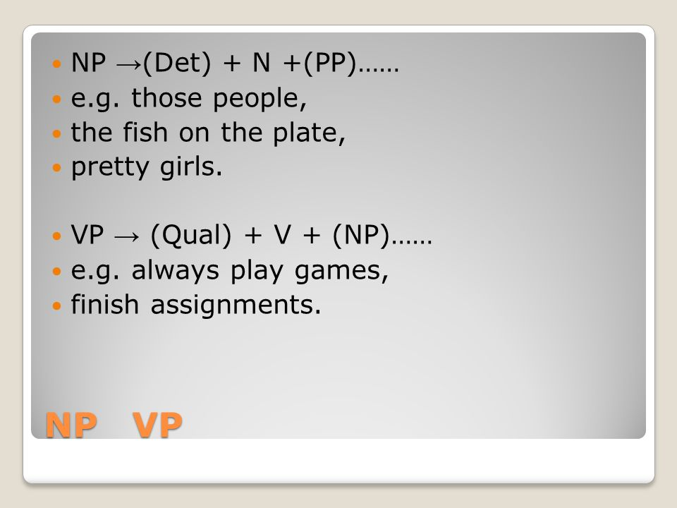 NP VP NP →(Det) + N +(PP)…… e.g. those people, the fish on the plate,