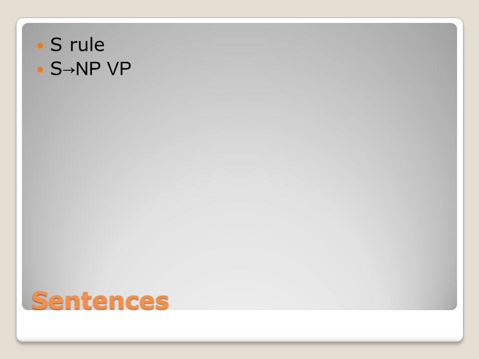 S rule S→NP VP Sentences
