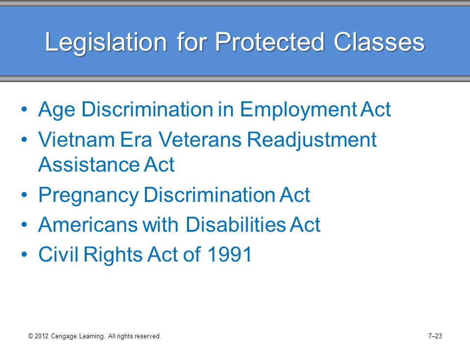 Legislation for Protected Classes