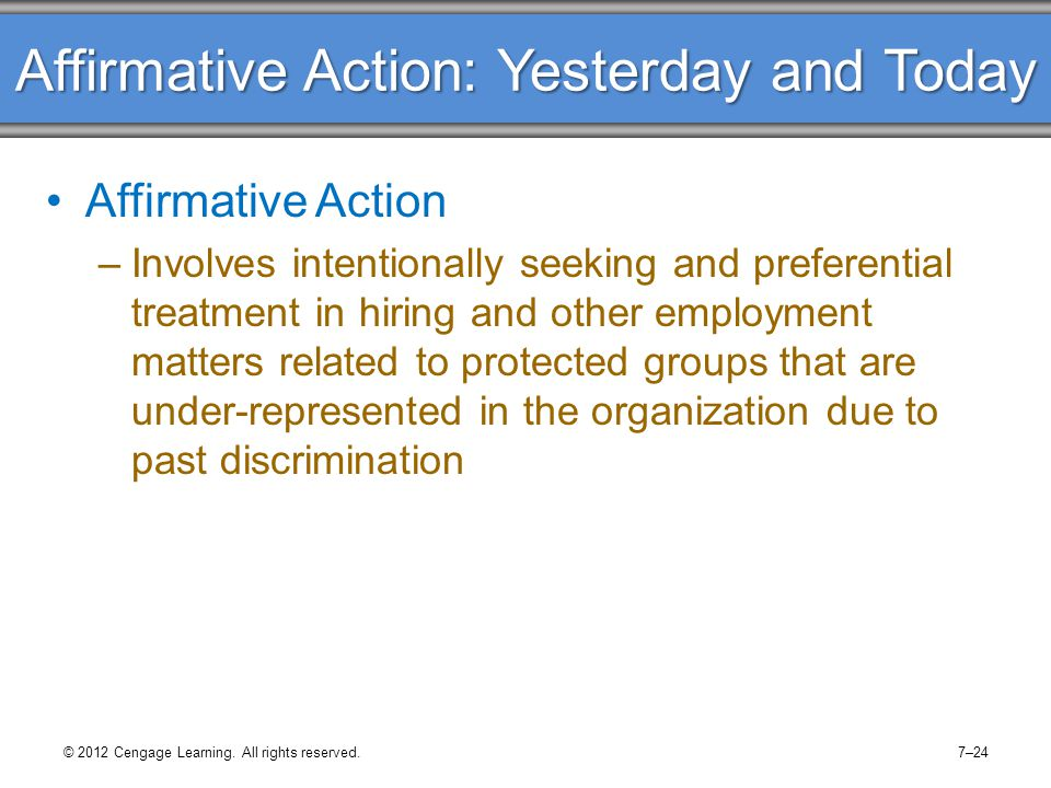 Affirmative Action: Yesterday and Today