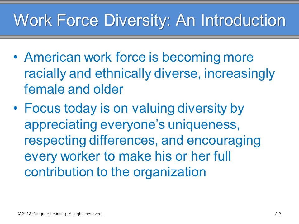Work Force Diversity: An Introduction