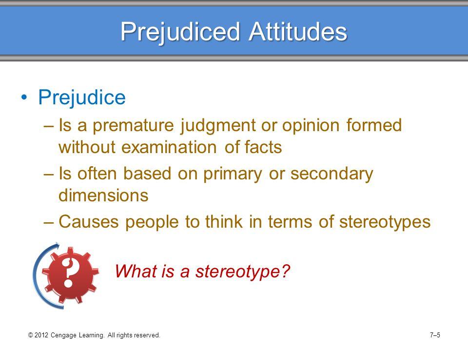 Prejudiced Attitudes Prejudice