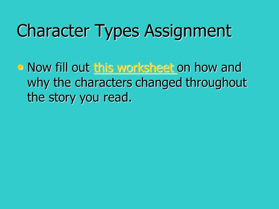 Character Types Assignment