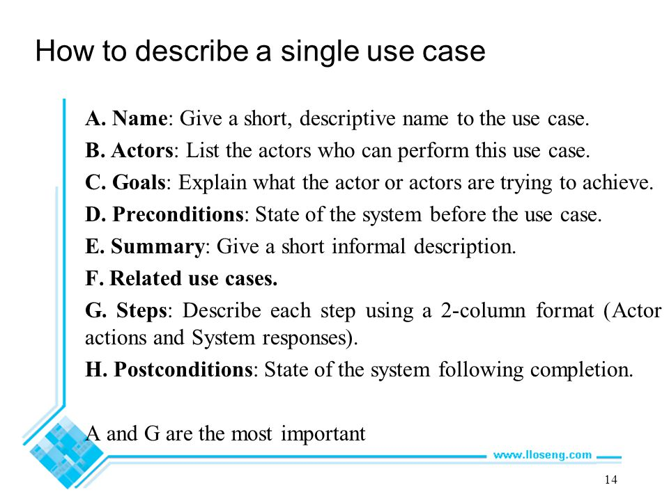 How to describe a single use case