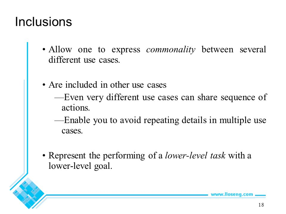 Inclusions Allow one to express commonality between several different use cases. Are included in other use cases.