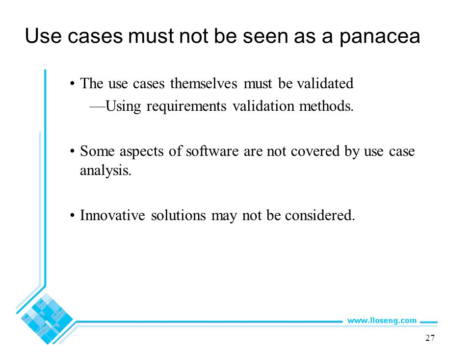 Use cases must not be seen as a panacea