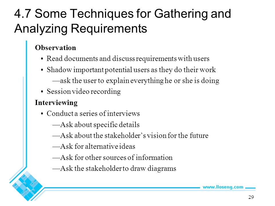 4.7 Some Techniques for Gathering and Analyzing Requirements