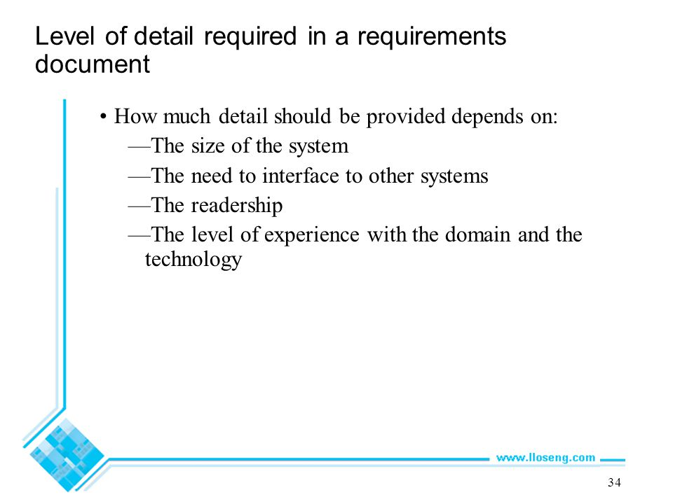 Level of detail required in a requirements document