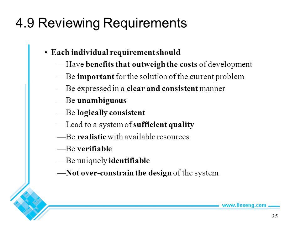 4.9 Reviewing Requirements