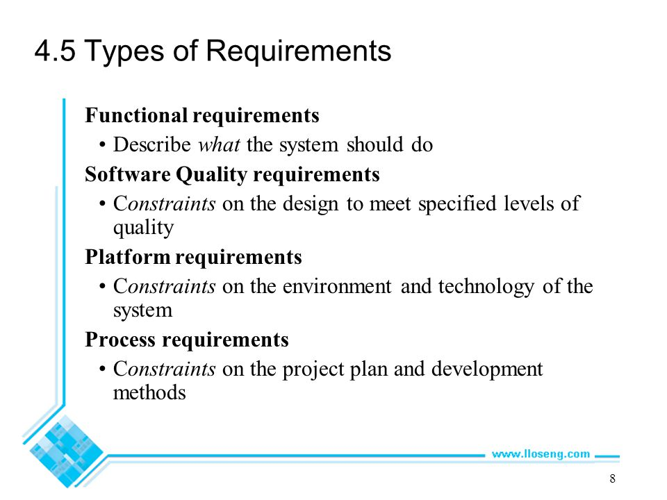 4.5 Types of Requirements Functional requirements