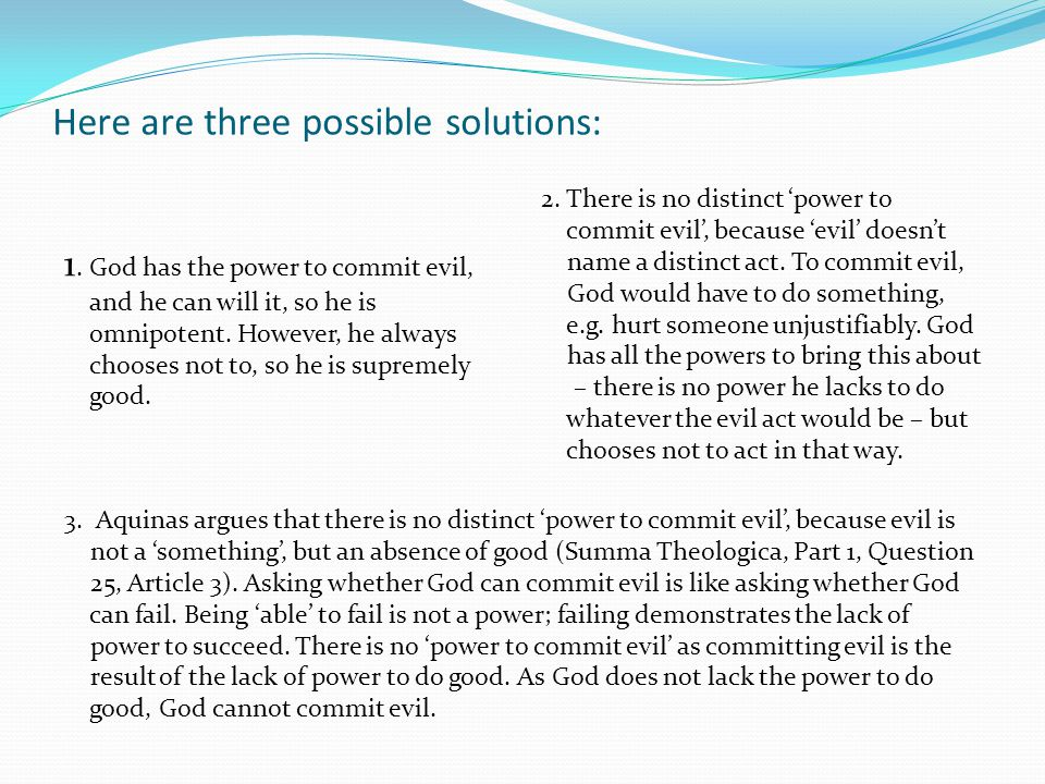 Here are three possible solutions:
