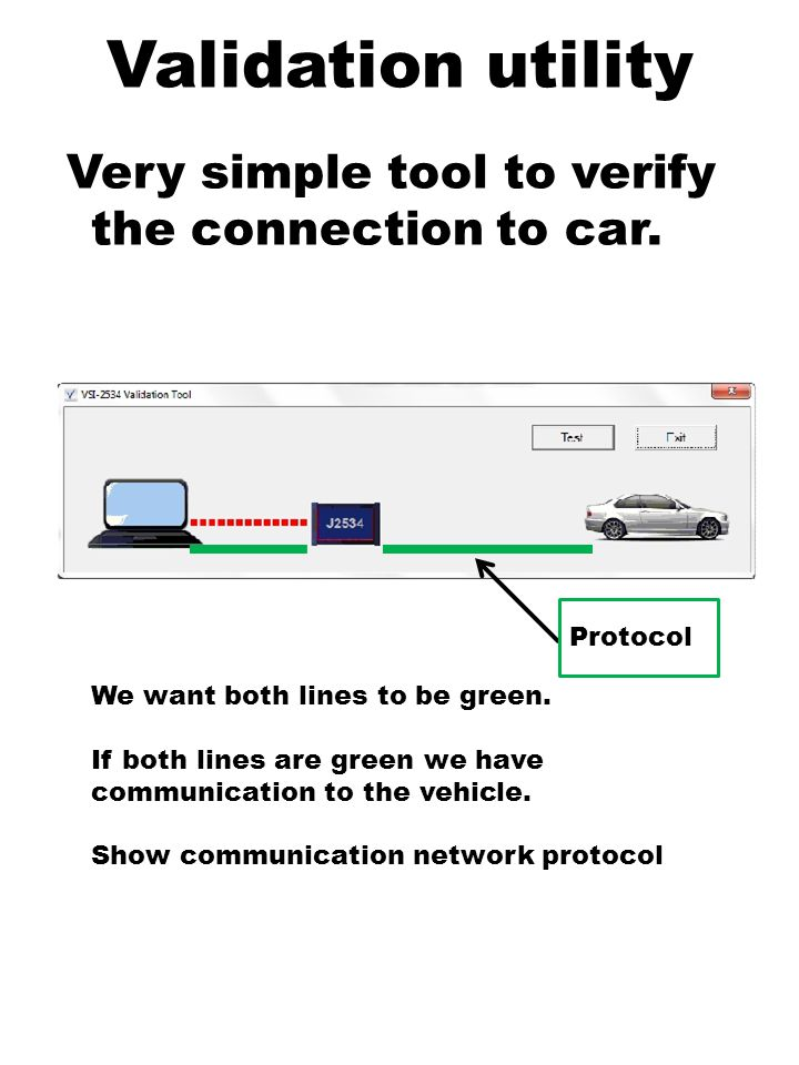 Validation utility Very simple tool to verify the connection to car.
