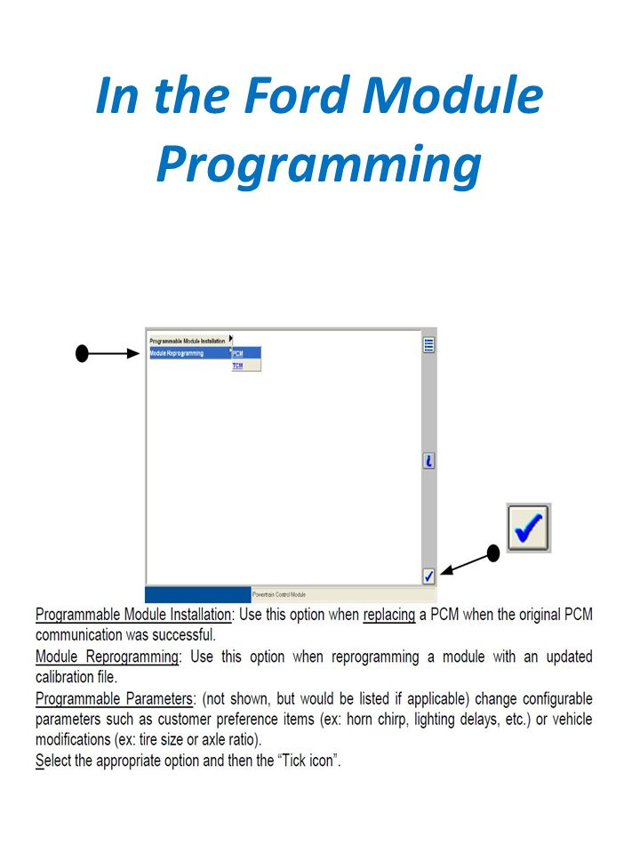 In the Ford Module Programming