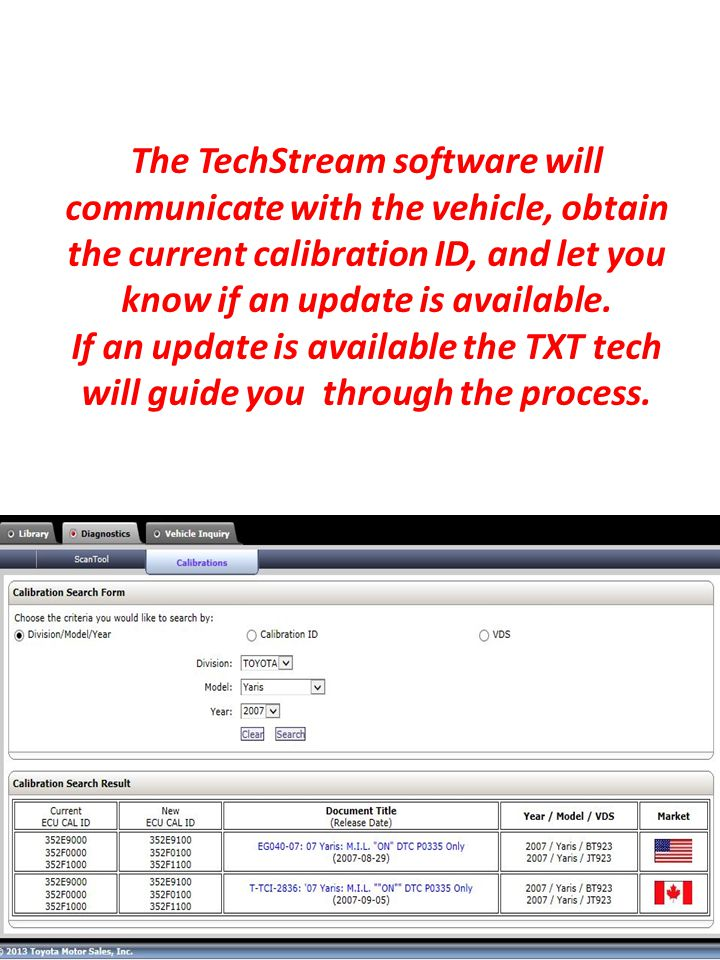 The TechStream software will communicate with the vehicle, obtain the current calibration ID, and let you know if an update is available.