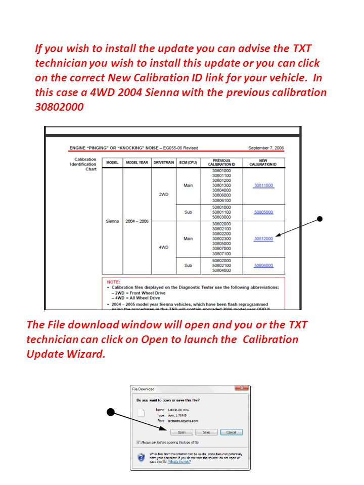 If you wish to install the update you can advise the TXT technician you wish to install this update or you can click on the correct New Calibration ID link for your vehicle. In this case a 4WD 2004 Sienna with the previous calibration 30802000
