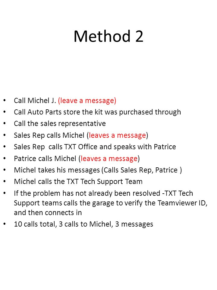 Method 2 Call Michel J. (leave a message)