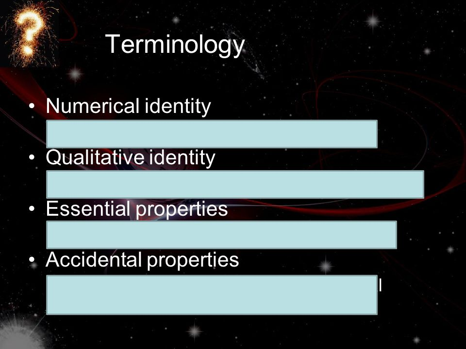 Terminology Numerical identity Qualitative identity