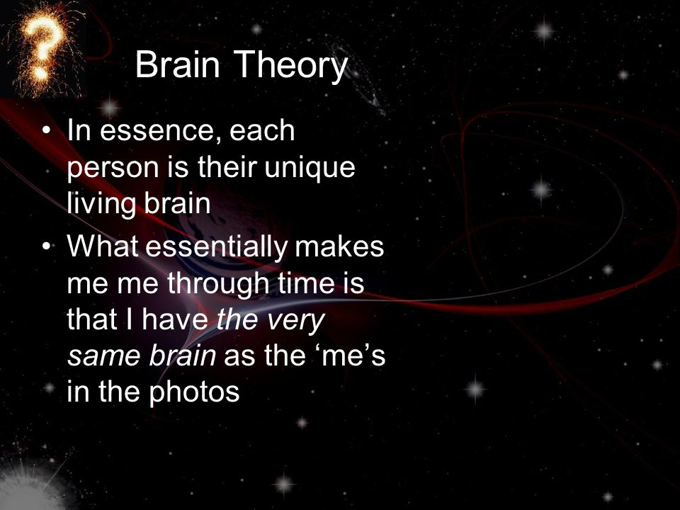 Brain Theory In essence, each person is their unique living brain