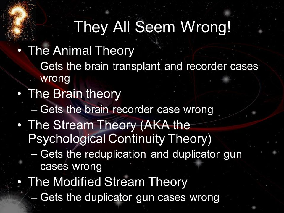They All Seem Wrong! The Animal Theory The Brain theory