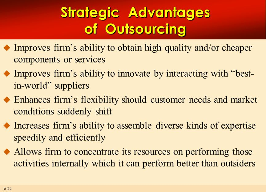 Strategic Advantages of Outsourcing