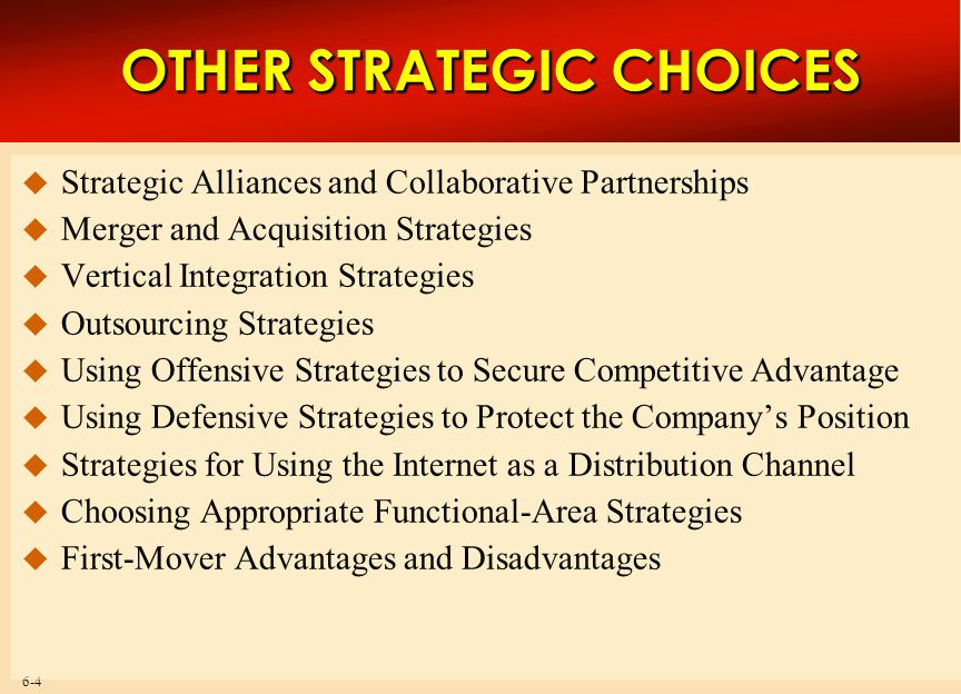 OTHER STRATEGIC CHOICES