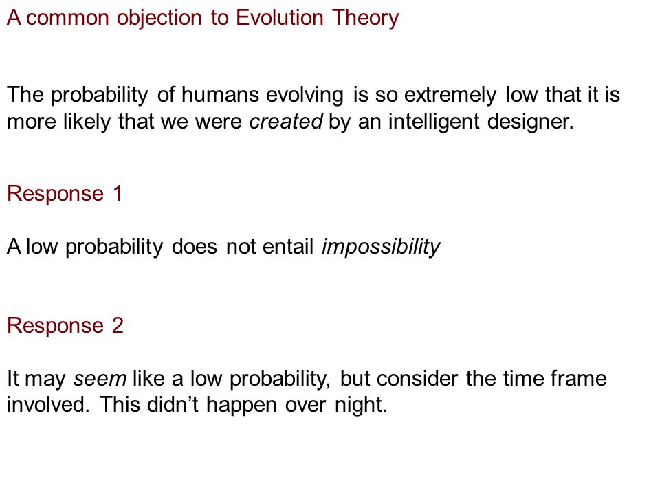A common objection to Evolution Theory