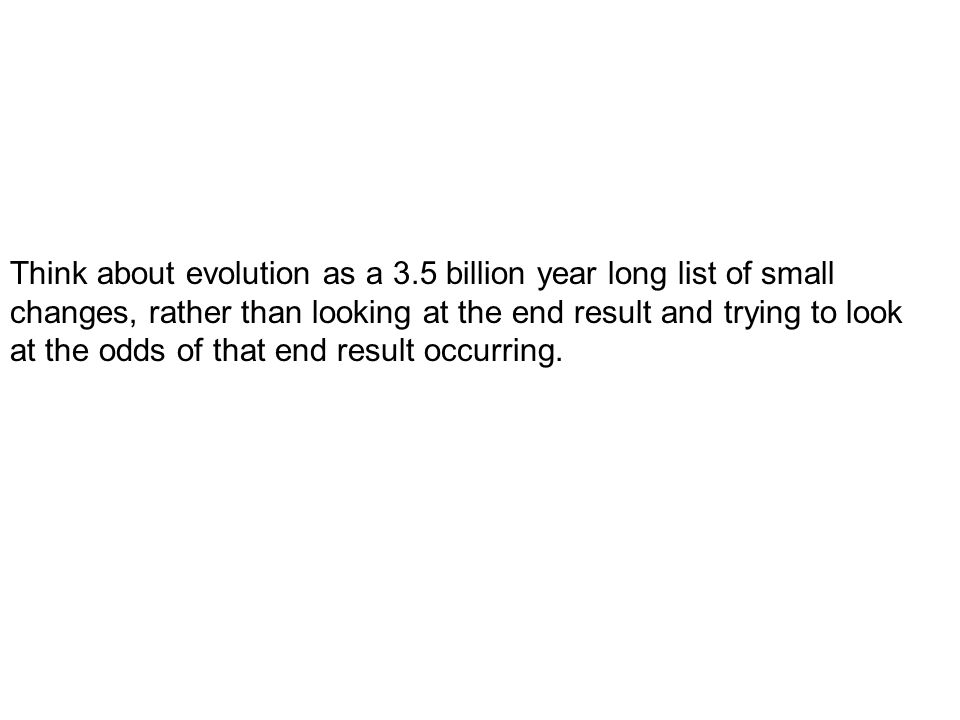 Think about evolution as a 3