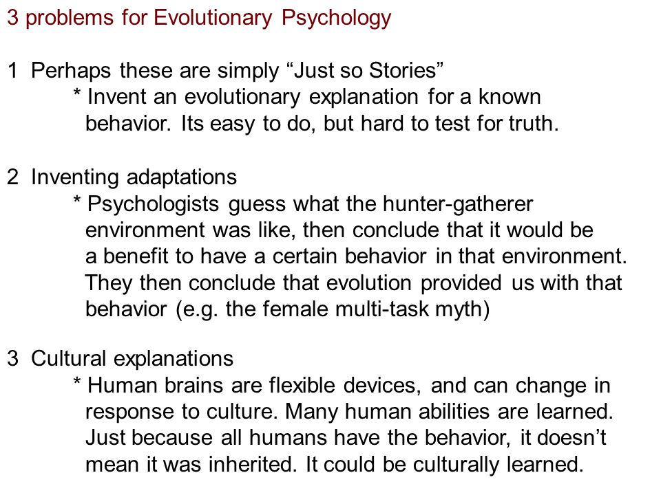 3 problems for Evolutionary Psychology