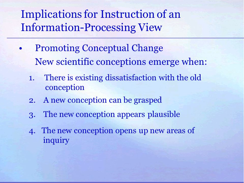 Implications for Instruction of an Information-Processing View