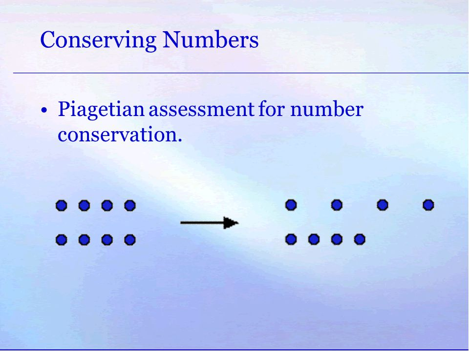 Conserving Numbers Piagetian assessment for number conservation.