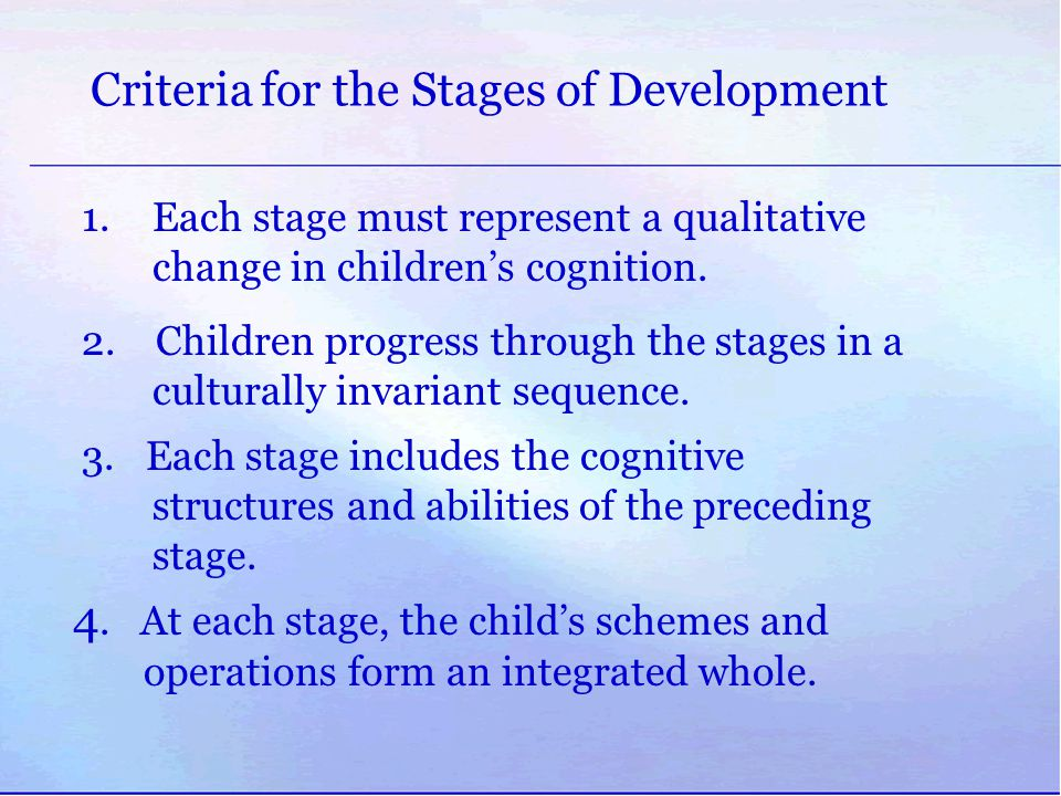 Criteria for the Stages of Development