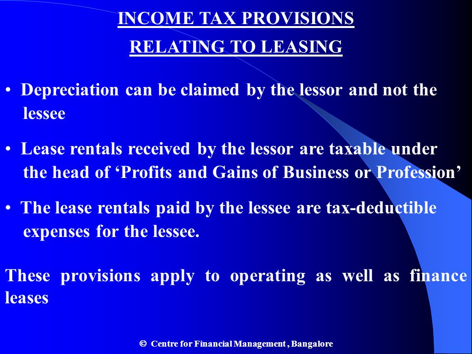 INCOME TAX PROVISIONS RELATING TO LEASING