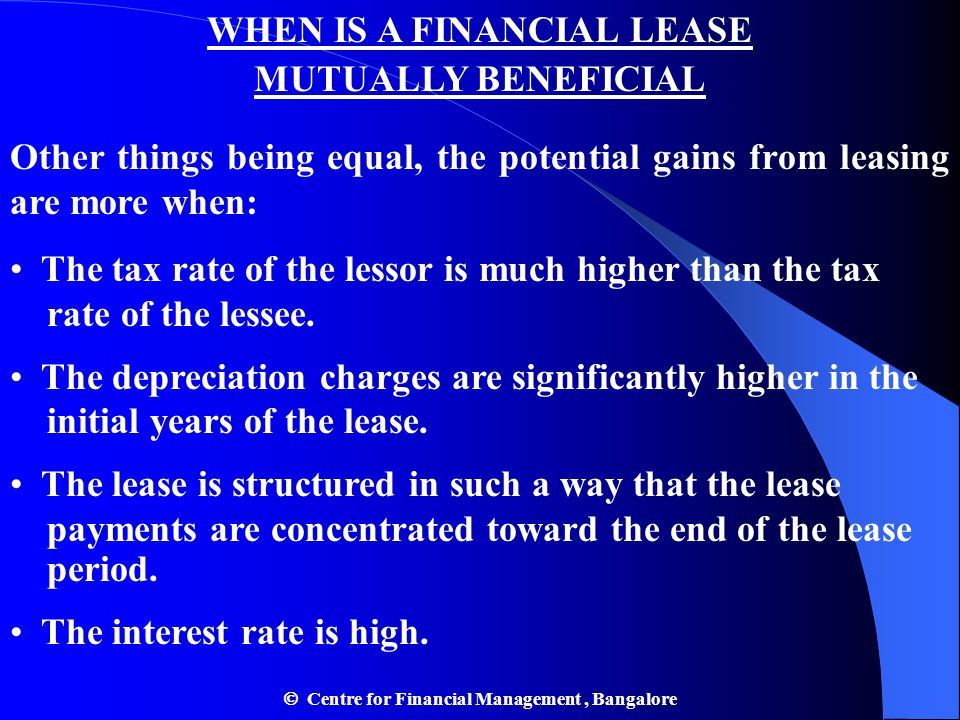WHEN IS A FINANCIAL LEASE MUTUALLY BENEFICIAL