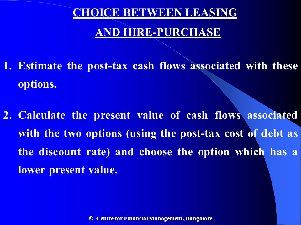 CHOICE BETWEEN LEASING AND HIRE-PURCHASE