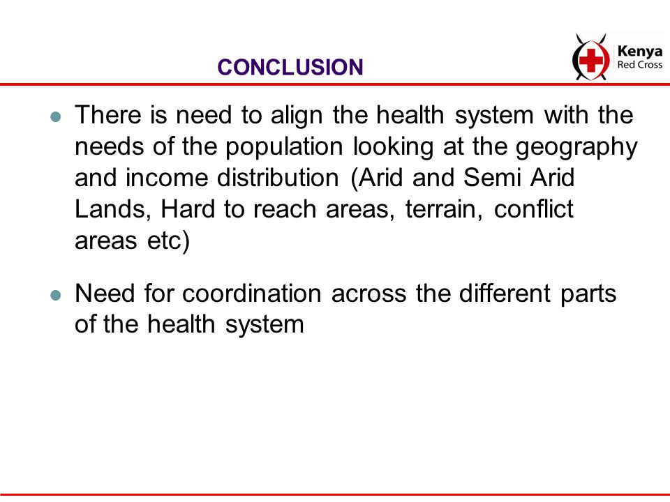 Need for coordination across the different parts of the health system
